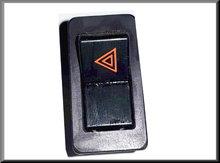 Waarschuwingslicht schakelaar met chroomrand (logo in rood, driehoek naar links)